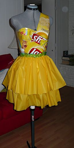 "Inspiration for ""Art of Trash"" fashion: yellow ""party"" dress - CLOTHING"