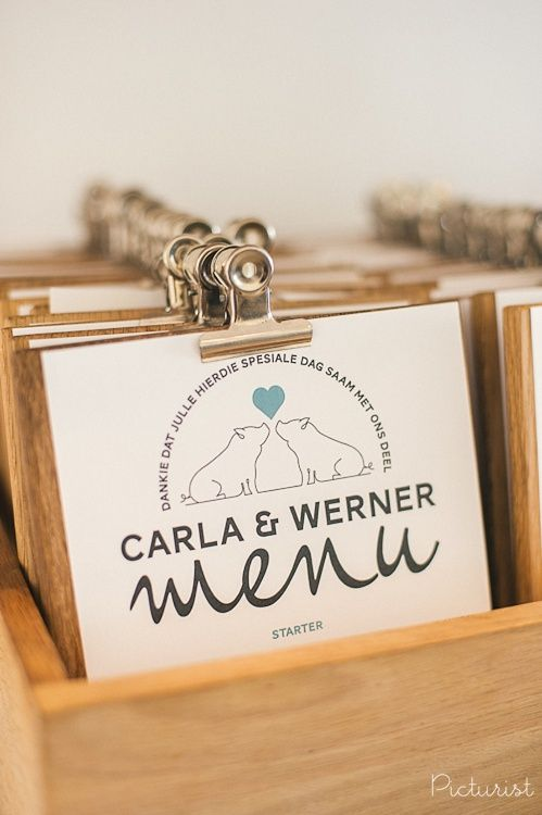 Clipboards for your wedding menus! From Carla & Werner's wedding at Maison Estate in Franschhoek.