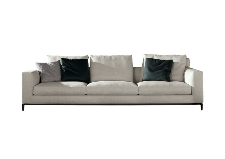 Andersen couch | Floats above the floor on a slender pressure-cast metal base and elegant feet in pewter-colored finish | more inspiring images at www.diningandlivingroom.com