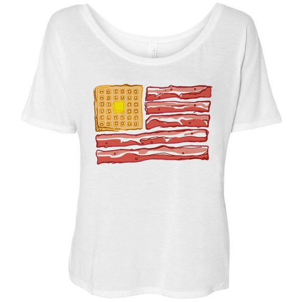 Breakfast Flag Flowy Tee Bacon Shirt 4th of July found on Polyvore featuring tops, t-shirts, white, women's clothing, scoop neck t shirt, slouchy white tee, white collar shirt, collar t shirt and collared shirt