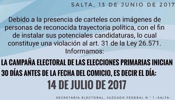 La Secretaría Electoral advirtió sobre la violación de la campaña electoral: Ante la presencia de carteles con imágenes de candidatos…