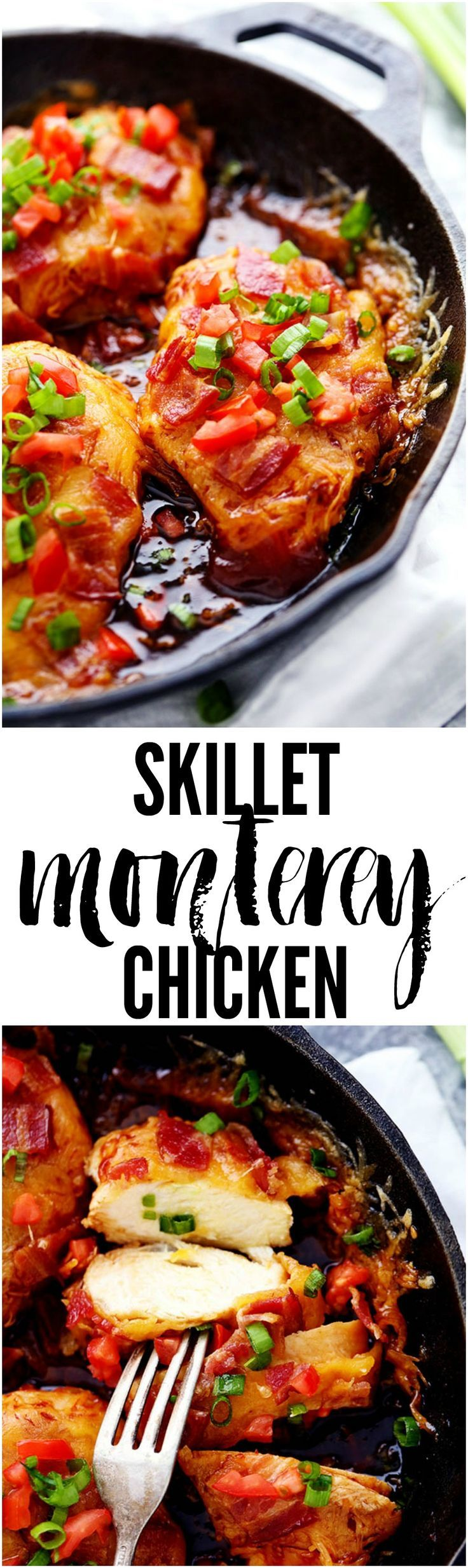 Skillet Monterey Chicken is a 30 minute meal that the entire family will fall in love with! Smothered in BBQ sauce, cheddar cheese and bacon this meal is full of flavor!