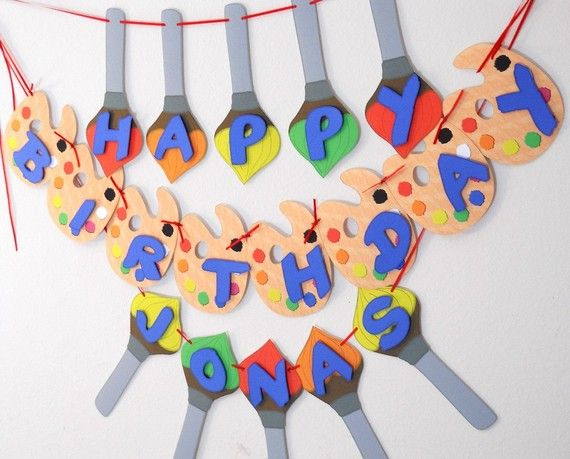 Art Paint Birthday Party Banner  Paint Brush n by bcpaperdesigns, $30.00