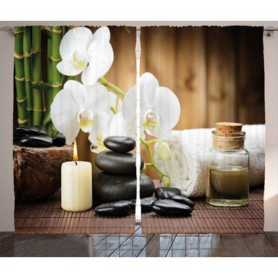 East Urban Home Spa Asian Spa Style ation with Zen Stones Candle Flowers and Bamboo Graphic Print & Text Semi-Sheer Rod Pocket Curtain Panels Size:...
