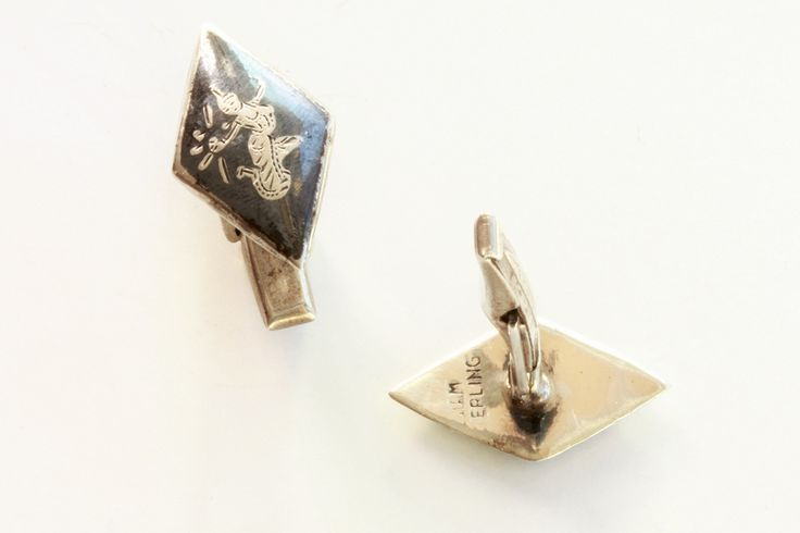 Pair of Vintage Siam Silver Cufflinks with Niello Centres.