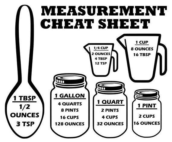 Measurement cheat sheet svg, Measurement svg, cutting board svg, kitchen svg, kitchen decor svg, svg, dxf files, dxf, svg files, cricut