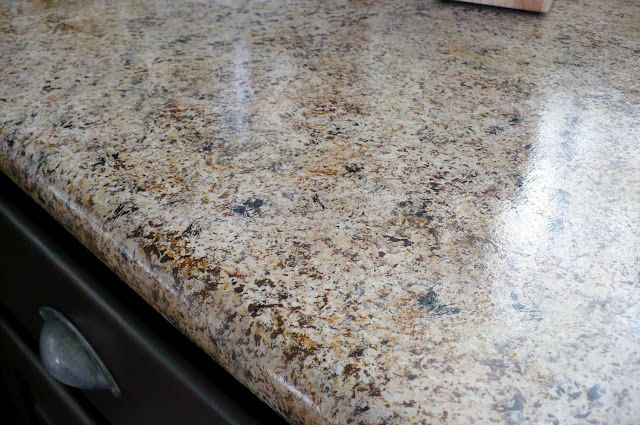 $250 Kitchen Makeover with $20 Granite Countertops- with primer and acrylic paint