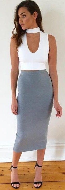 White Crop + Grey Midi Skirt                                                                             Source