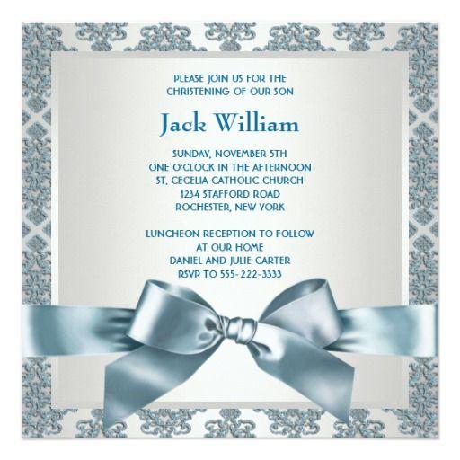 Batismo azul da foto do bebé do damasco da cerceta convite quadrado 13.35 x 13.35cm