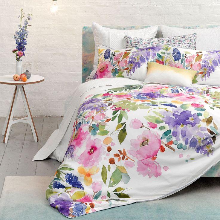 wisteria duvet floral watercolour bedding