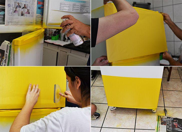 Para personalizar a geladeira com papel contact você irá precisar de um papel contact da cor ou estampa que preferir, fita métrica, estilete e uma espátula. A aplicação é simples, mas você vai precisar tomar o cuidado de medir cada pedacinho da sua geladeira para saber a quantidade necessária de papel. Na hora de aplicar, basta retirar a película e ir colando com a ajuda da espátula para evitar a formação de bolhas. Para dar o acabamento, use o estilete.