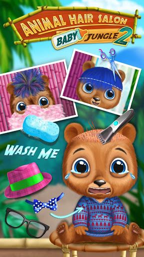 Baby Animal Hair Salon 2 now with even more cuteness and hair styling fun! New animals, new hairstyles and new fashion adventures inside!Play with 9 super cute jungle animals and choose who to style first – baby and mommy panda, baby and mommy bear, baby and mommy giraffe, baby and mommy leopard or baby kitten! Wash, shampoo, rinse, dry, cut, curl, comb, dye, shave and trim animal hair and fur. Do manicure and makeup. Visit sloth's fashion dress up salon and design tons of crazy cool o…