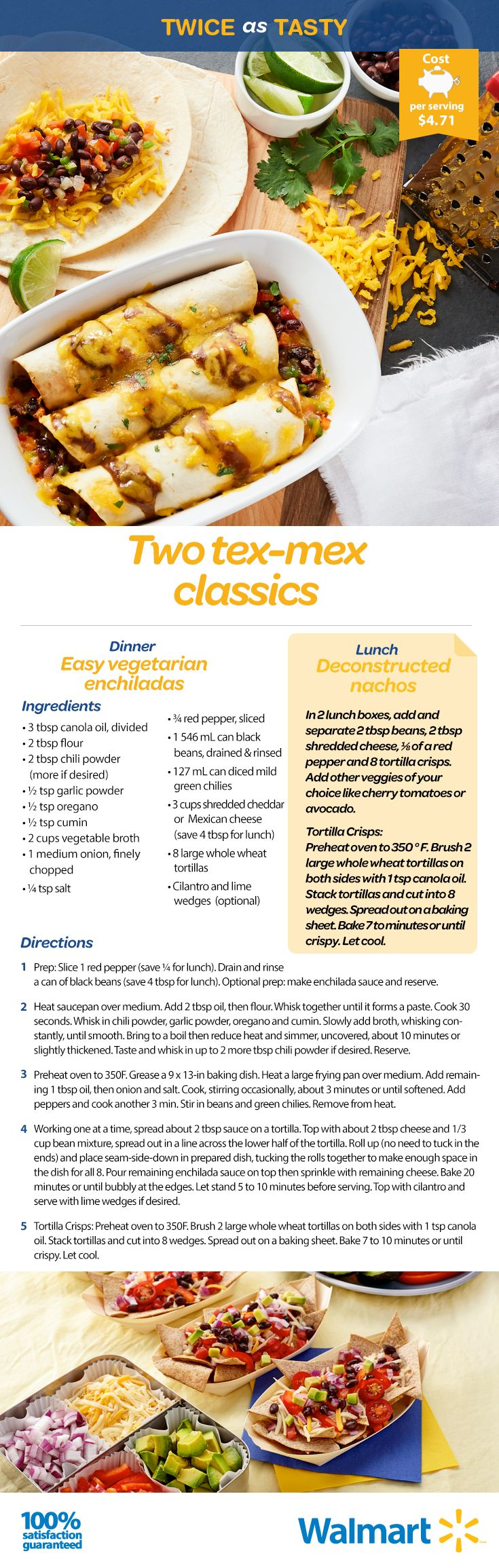 Vegetarian Enchiladas tonight, deconstructed nachos tomorrow. Either way, these Mexican-inspired dishes will please the entire family at mealtime!  #backtoschoolrecipes