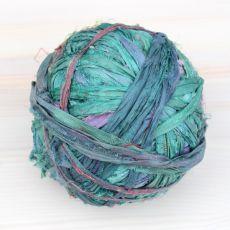 Jedwabne pasmo sari zieleń morska [3m]