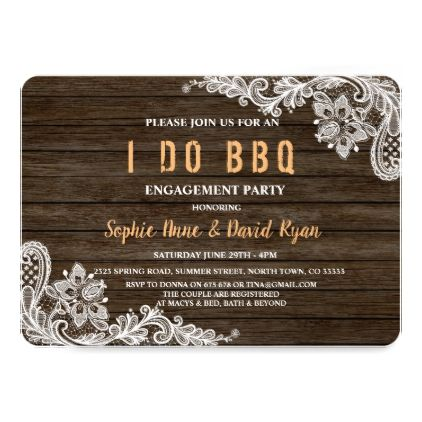 Rustic Lace Wood I DO BBQ Invitation - chic design idea diy elegant beautiful stylish modern exclusive trendy