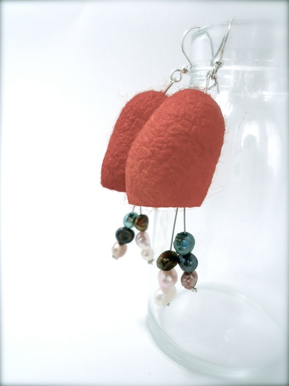 so cool! never seen anything like this! silk cocoon earrings with fresh water pearls by @diaxeirosjg on #etsy