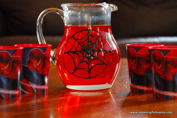 Take black puffy paint to a plain pitcher to make an awesome Spiderman pitcher for your Spiderman party!