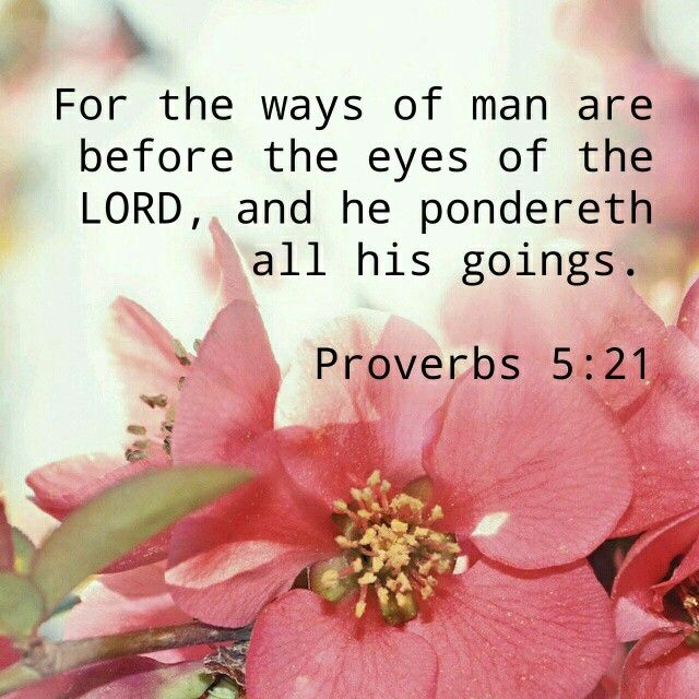"""For the ways of man are before the eyes of the LORD, And He ponders all his paths."" ‭‭Proverbs‬ ‭5:21‬ ‭NKJV‬‬"