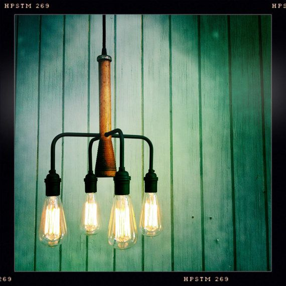 Vintage Industrial Pendleton Mill Bobbin Chandelier Pendant Lamp with Exposed Filament Bulbs Included
