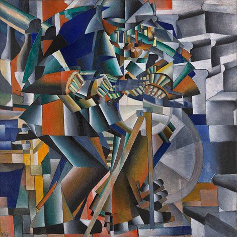 'The Knife Grinder' by Kazimir Malevich - Russian Cubo Futurism, 1913  When Aristarkh Lentulov returned from Paris in 1913 and exhibited his works in Moscow, the Russian Futurist painters adopted the forms of Cubism and combined it with the Italian Futurists' representation of movement.