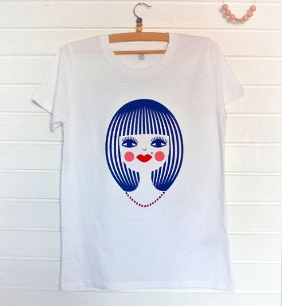 Organic t-shirt women's Screen print  Stylish pretty by DURIDO