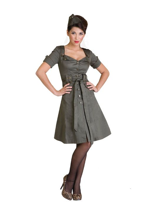 Living Dead Souls Army Green Military Style 3/4 Sleeved Button Down DressMilitary Dresses, Spring Dresses, Fashion, Arsenal Military, Closets, Clothing, Military Style Jackets, Femme Arsenal, Grey Dresses