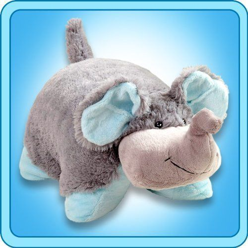"""Nutty Elephant Grey Blue Trunk Pillow Pets Pee Wees Pillow PetsTM Pee Wee are small, snugly-soft and sure to make every kid smile. Huggable stuffed animals open to an 11"""" cozy chenille pillow that is"""