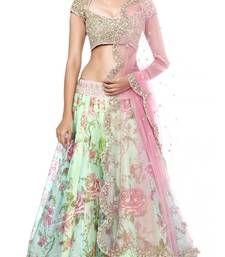 Buy Multicolour embroidered bhagalpuri unstitched lehenga-choli lehenga-choli online