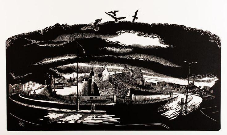 Crook o' Ness (Macduff) 2013 The shorefront Macduff. 80 cm x 50 cm.  Bryan Angus