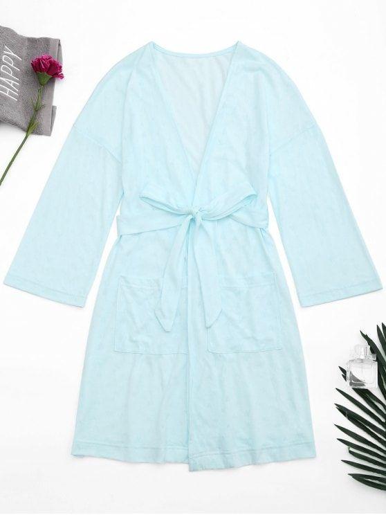 Kimono Belted Pockets Night Robe - Light Blue M #Shoproads #onlineshopping #women #fashion #tops #tunics