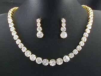 White Created Diamond 18K Yellow Gold Plated Necklace Earrings Set