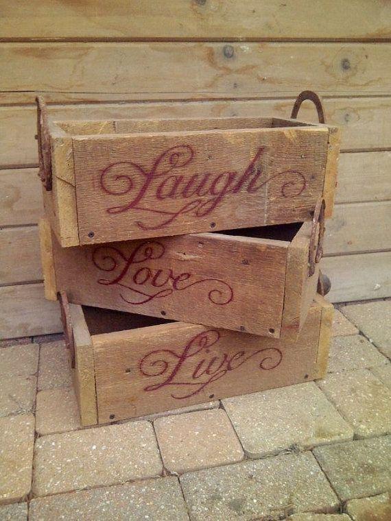 live laugh love boxes by secondchancebarnwood on etsy 25. Black Bedroom Furniture Sets. Home Design Ideas