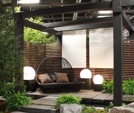 #contemporary #outdoor with #pergola #outdoor_lighting and #seating_area