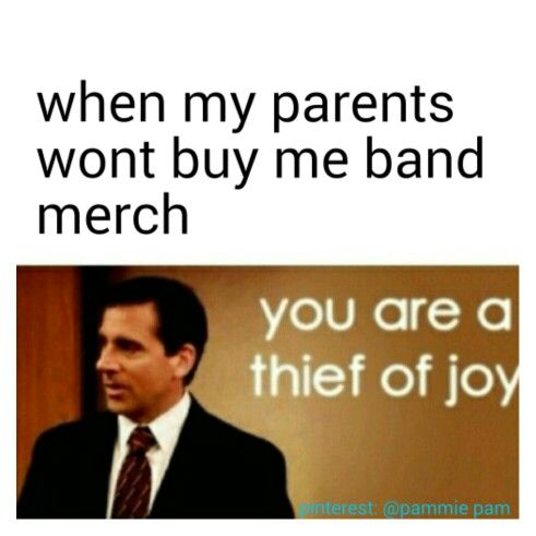 I like the fact that my dad actually encourages me to buy band merch ^_^ He's always taking me into hot topic!