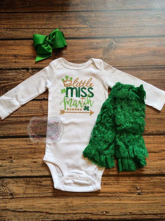 St Patricks Day Onesie Little Miss March Onesie Birthday St Patricks Day Personalized Green & Gold Onesie Green Bow Green Lace Leg Warmers