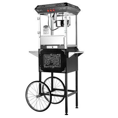 Great Northern Popcorn 8 Oz. Popcorn Popper Machine & Cart Color: Black