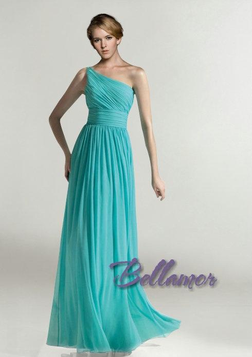 Prachtvoll Mintblau One-Shoulder Chiffon Lang Empire Abendkleid 2013