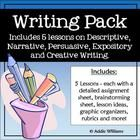WRITING - PERSUASIVE, NARRATIVE, EXPOSITORY  DESCRIPTIVE WRITING ACTIVITIES  GRAPHIC ORGANIZERS - An easy-to-use set of activities, organ...