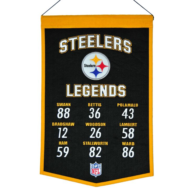 """This 14"""" x 22"""" beautifully embroidered banner commemorates great Pittsburgh Steelers players from the past and present. A nostalgic look back at some of the most iconic players in the game."""