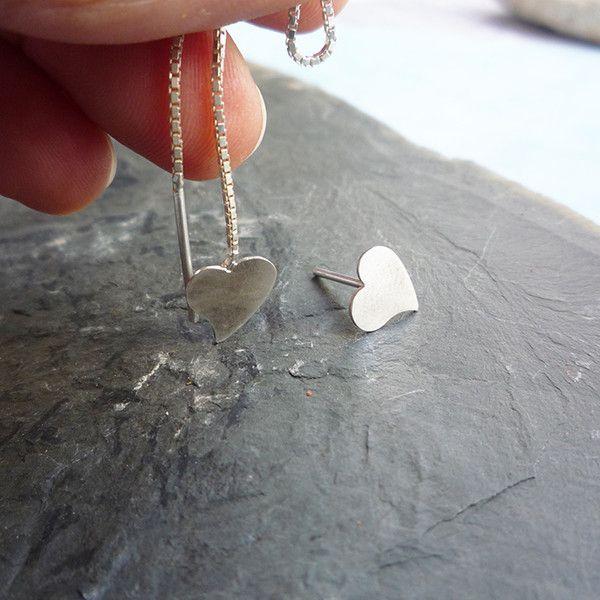 Silver Earrings – Asymmetric Silver Earrings - heart shape – a unique product by Carla-Amaro on DaWanda
