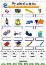 School Supplies on Exercise Worksheet