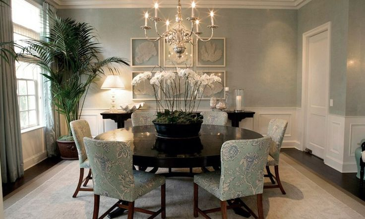 Adam Hunter Inc Beautiful sea foam green dining room with