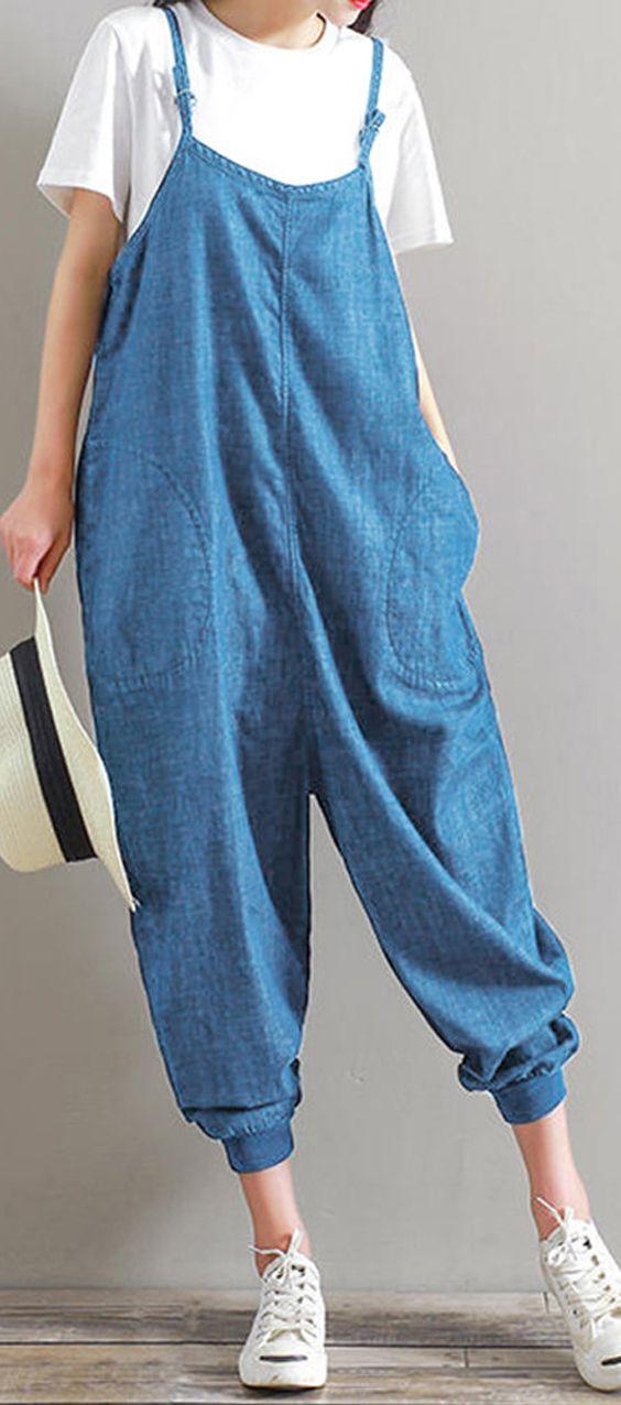 d2d57b214ca Casual Women Straps Pocket Loose Romper Trousers Jumpsuit  Jumpsuit  Romper