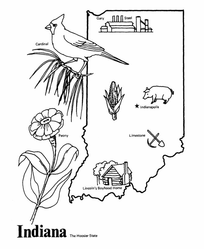Indiana State Outline Coloring Page Copy The Image And