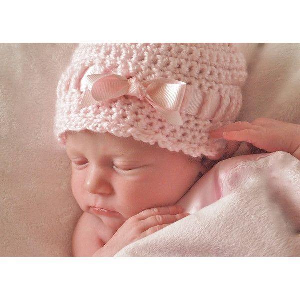 Newborn Girl Hat, Crochet Baby Hat, Baby Girl Hospital Hat, Newborn... ($28) ❤ liked on Polyvore featuring kids