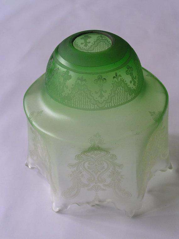 Vintage Green Glass Light Shade Lamp Shade Green