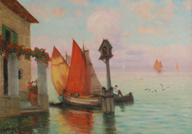 Roman BRATKOWSKI (1869-1954)  Wenecja olej, tektura; 48,7 x 69 cm (w świetle oprawy);  sygn. l. d.: R. Bratkowski