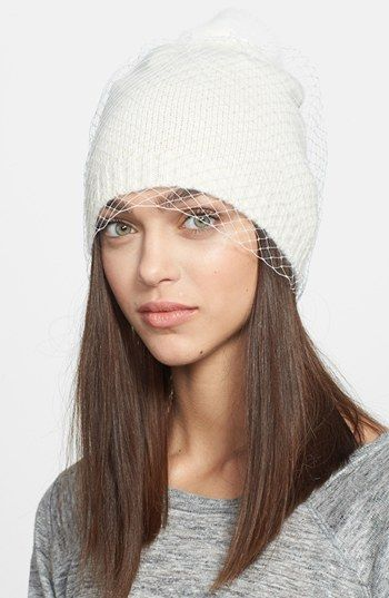 I bet I could DIY this and save myself $68. Such a cute idea to dress up a plain beanie!Winter Beanie, Veils Beanie, Winter Style, Winter Veils, Bcbgeneration Winter, Fallwinter Musthaves, Fall Fashion, Bcbgmaxazria Winter, Bcbgmaxazria Bcbgeneration