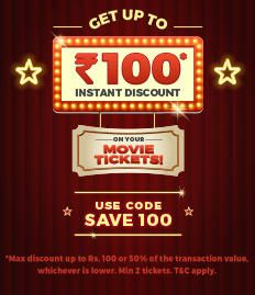 BookMyShow Offer (All Users) Rs.100 Off on Two Movie Tickets
