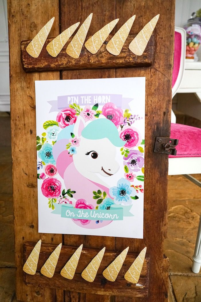 """""""Pin the Horn on the Unicorn"""" game from a Pastel Unicorn Birthday Party on Kara's Party Ideas 